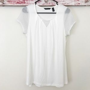 H By Halston Short Sleeve Knit Top W/ Lace Detail